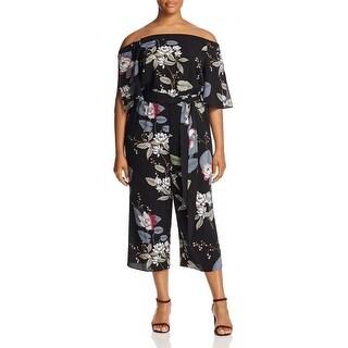 City Chic Womens Jumpsuit Floral Print Off-The-Shoulder