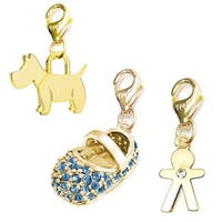 Julieta Jewelry Blue Baby Shoe, Scottie Dog, Boy 14k Gold Over Sterling Silver Clip-On Charm Set