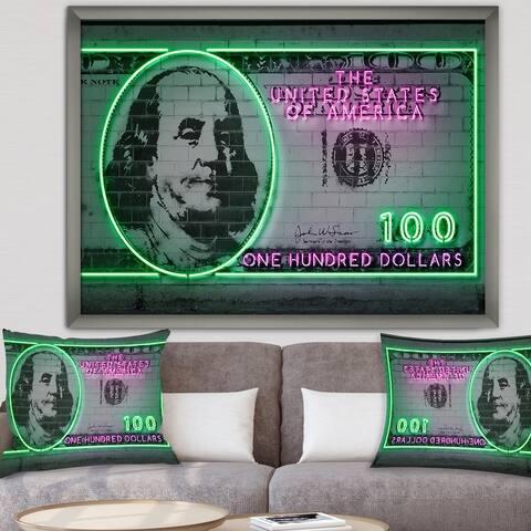 Designart '100 dollars' Modern & Contemporary Framed Art Print