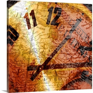 """Globe and clock"" Canvas Wall Art"