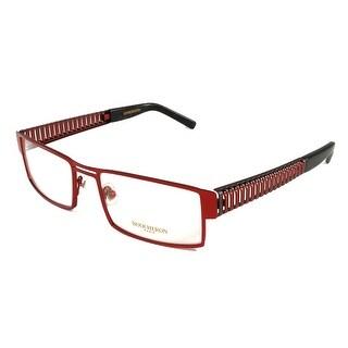Boucheron Unisex Rectangular Eyeglasses Red/Gold - Black - S
