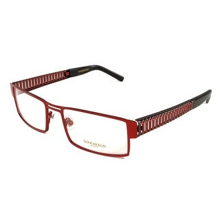Boucheron Unisex Rectangular Eyeglasses Red/Gold - Black - S