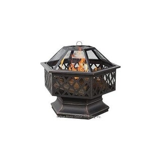 Blue Rhino WAD1377SP OIL RUBBED BRONZE HEX SHAPED OUTDOOR FIREBOWL WITH LATTICE DESIGN - Black
