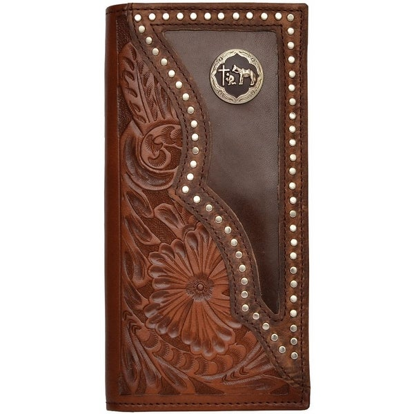 3D Western Wallet Men Leather Rodeo Slots Pray Cowboy Brown - One size