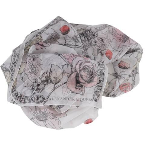 "Alexander McQueen 504445 CRAWLING ROSES SKULL Chiffon Silk Scarf - 54"" x 54"""