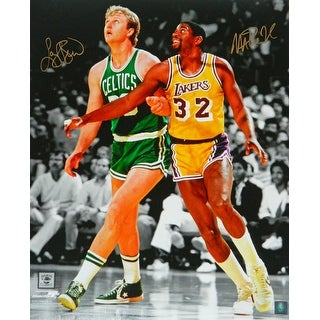 Larry Bird  Magic Johnson Dual Boston Celtics vs Los Angeles Lakers NBA Action Spotlight 16x20 Phot