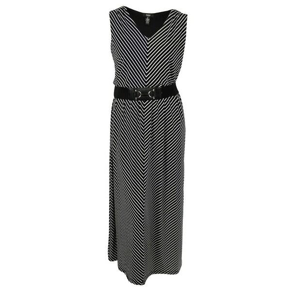Alfani Women's Belted Striped Dress - Black/White