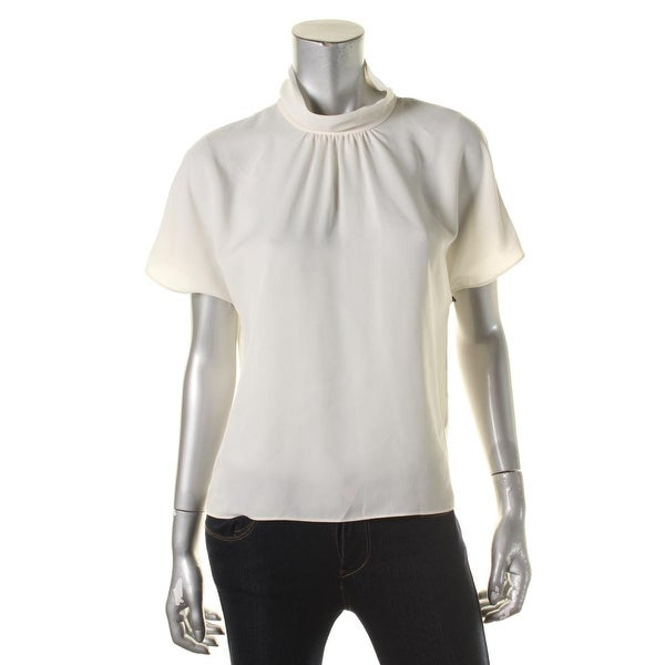 Vince Camuto Womens Blouse Short Sleeves Gathered