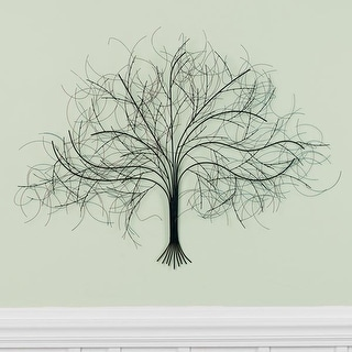 Black Tree Wall Decor Sculpture - Handcrafted Metal Art
