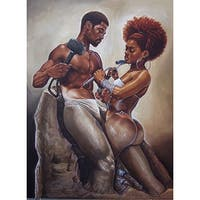 ''Made 4 Each Other (medium)'' by WAK - Kevin A. Williams African American Art Print (20 x 12 in.)