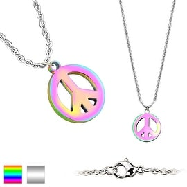 Peace Symbol Pendant 316L Stainless Steel Chain Necklace (1.5 mm) - 20 in