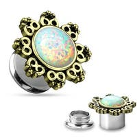 Lotus Flower with Opal Center 316L Surgical Steel Screw Fit Tunnel (Sold Individually)