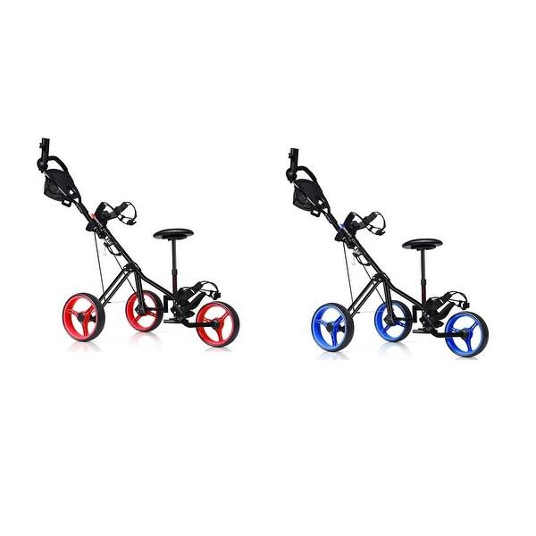 Foldable 3 Wheel Push Pull Golf Club Cart Trolley w/Seat Scoreboard