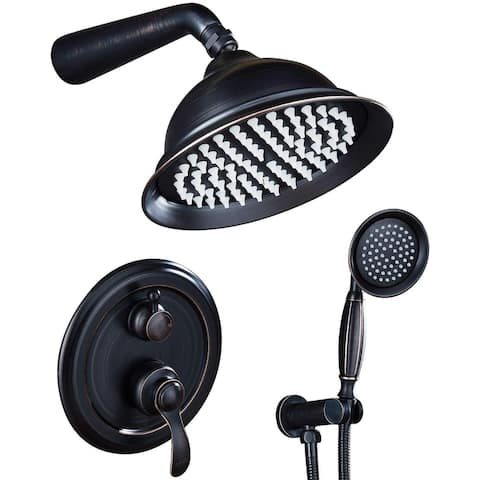Shower Faucet System Combo Kit with Head in Bronze(Valve Included)