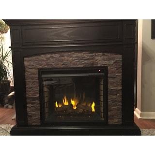 Copper Grove Amistad Ebony Faux Stone Corner Electric Media Fireplace