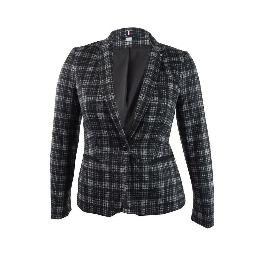 12, Black Multi Tommy Hilfiger Women/'s Plaid Elbow-Patch Knit Blazer