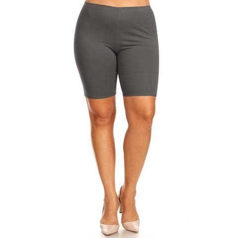 Women's Plus Size Yoga Gym Solid Biker Short Pants Made in USA