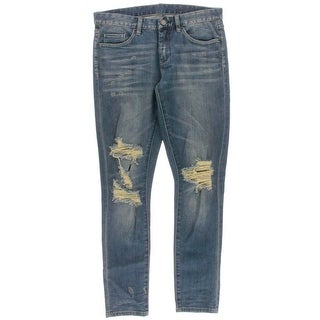 Blank NYC Womens Relaxed Fit Destroyed Skinny Jeans