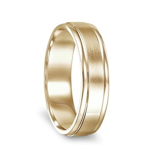 14k Yellow Gold Brushed Finished Women S Ring With Polished Edges 4mm