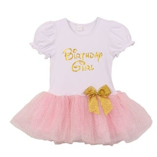"Little Girls Pink Gold ""Birthday Girl"" Bow Attached Fluffy Tutu Dress 2T-6"