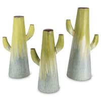 """Set of 3 Pale Green and Gray Decorative Striped Design Drip Cactus 17.91"""""""