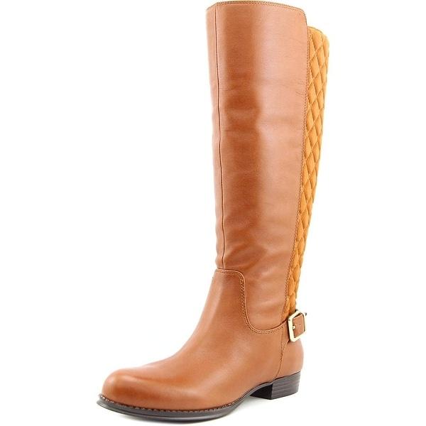 Isaac Mizrahi Tally Wide Calf Women Round Toe Leather Brown Knee High Boot