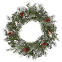 "36"" Pre-Lit Frosted Pine Berry Artificial Christmas Wreath - Clear Lights - green"