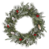 "36"" Pre-Lit Frosted Pine Berry Artificial Christmas Wreath - Clear Lights"