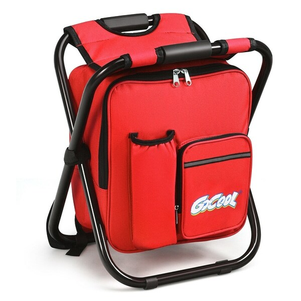 3 in 1 Cooler Backpack Chair for Hiking Events-Red