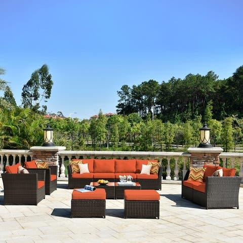 Kegashka 12-piece Brown Wicker Sectional Set by Havenside Home