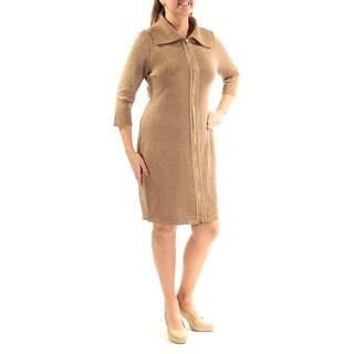 CALVIN KLEIN $134 Womens New 3025 Gold Zippered Glitter Shift Dress L B+B