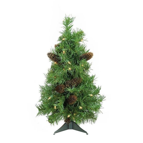 "2' x 17"" Pre-Lit Dakota Red Pine Full Artificial Christmas Tree - Clear Dura Lights - green"