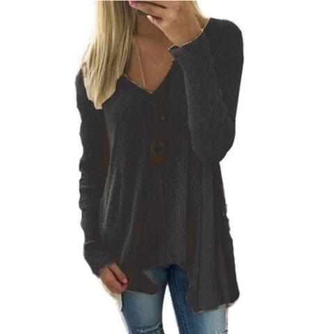Women's V Neck Irregular Hem Long Sleeve Shirt Tunic