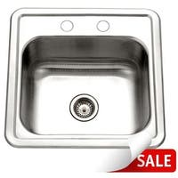 """Houzer 1515-6BS Hospitality 15"""" Single Basin Drop In 24-Gauge Stainless Steel Bar Sink with Sound Dampening Technology"""