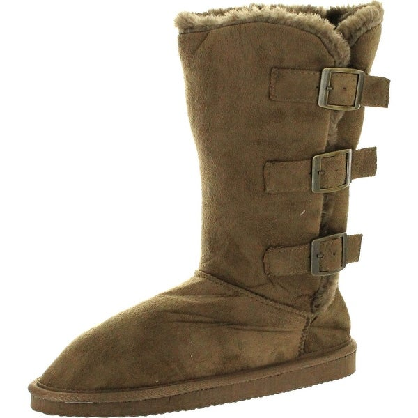 Static Footwear Womens Microsuede 10 Winter Boots With Buckle Detail""