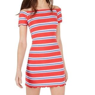 Ultra Flirt Red Size Small S Junior Striped Off Shoulder Sheath Dress 200