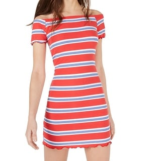 Ultra Flirt Red Size Small S Junior Striped Ruffle Off Shoulder Sheath Dress 034