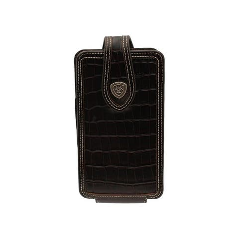 Ariat Western Cell Phone Case Croc Print Leather Brown