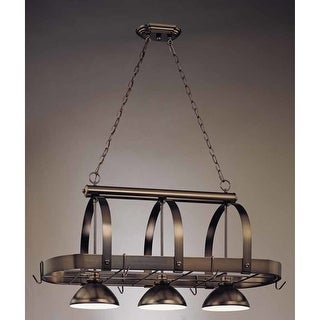 "Volume Lighting V3023 3 Light Down Light 23"" Height Chandelier with Metal Dome S"