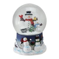 "6.75"" Snowman and Snow-Son Musical Christmas Snow Globe Glitterdome"