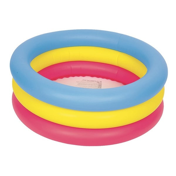 """30"""" Inflatable Pink  Yellow and Blue Children's Swimming Pool"""