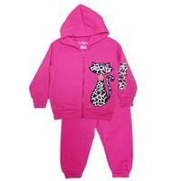 Little Girls Pink Cat Detail Hooded Full Zipper Top 2 Pc Pant Outfit