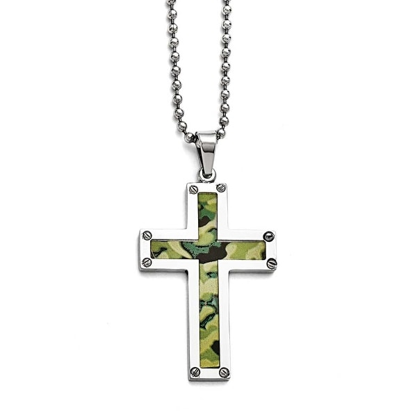 Chisel Stainless Steel Polished Camouflage Cross Necklace - 24 in