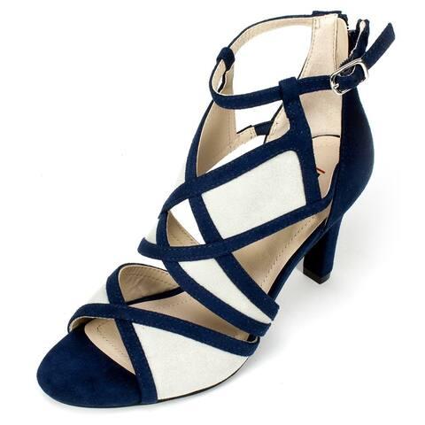 Rialto Womens RIA Fabric Open Toe Ankle Wrap Classic Pumps