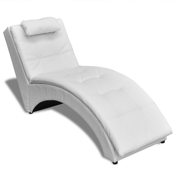 Shop Vidaxl Chaise Longue With Pillow Artificial Leather White