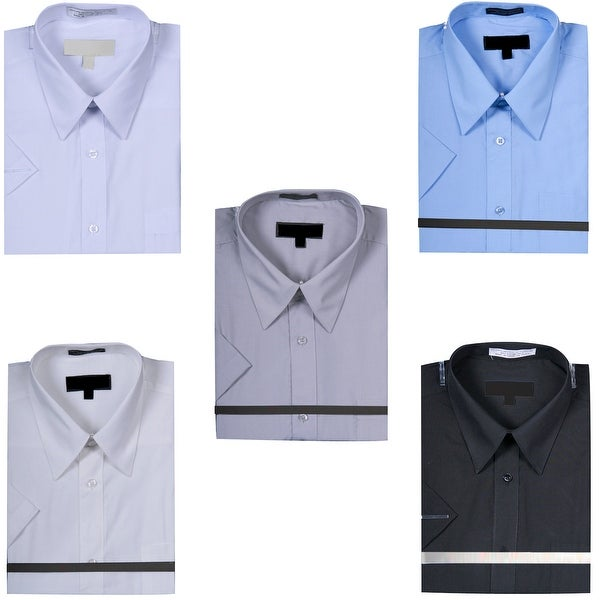 Men's Basic Short Sleeve Dress Shirt Solid Color. Opens flyout.