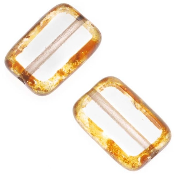 Czech Glass Table Cut Window Beads 8x12mm Rectangle - Clear / Picasso Diffusion (12)