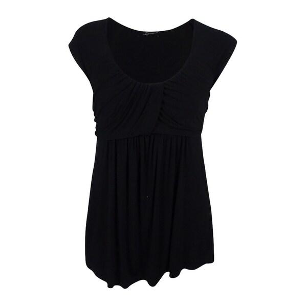 Soprano Women's Cap Sleeve Ruched Top - Black - 3x