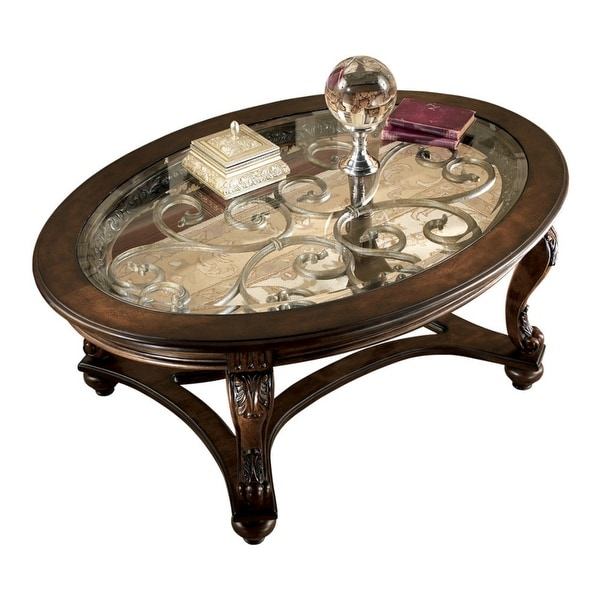 Norcastle Sofa Table: Shop Ashley Furniture T499-0 Norcastle Dark Brown Oval