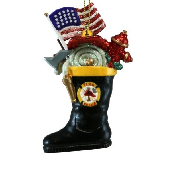 "3"" American Fireman Boot Patriotic Christmas Ornament"